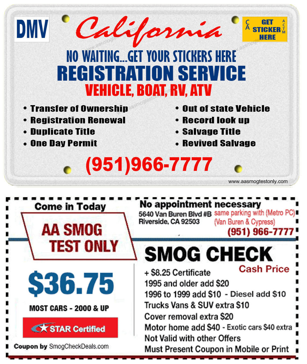 DMV Registration (951) 966-7777 - AA Smog Test Only -Fast Service
